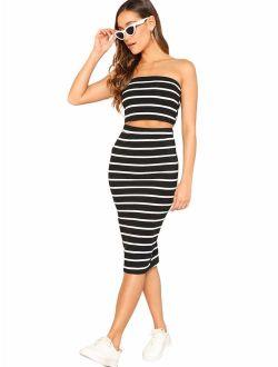 Women's 2 Pieces Striped Crop Bandeau Top And Split Skirt Cotton Set