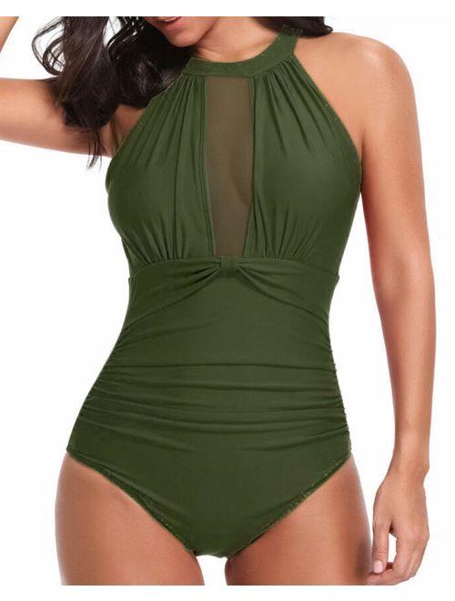 Tempt Me Women One Piece Swimsuit High Neck Plunge Mesh Ruched Monokini Swimwear