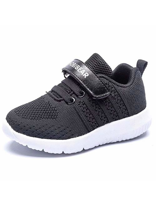 HOBIBEAR Kids Breathable Knit Sneakers Lightweight Mesh Athletic Running Shoes