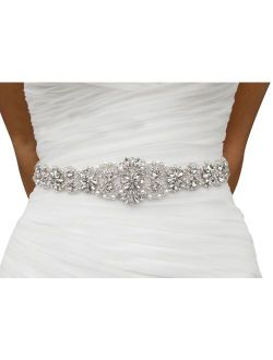 Lovful Bridal Crystal Rhinestone Braided Wedding Dress Sash Belt, White, White Sash, One Size
