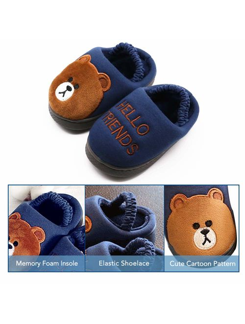 Boy's & Girl's Cute Animal House Slippers Bear Bunny Fuzzy Indoor Warm Shoes/Anti-Skid Sole (Toddler/Little Kid/Big Kid)
