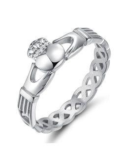 SOMEN TUNGSTEN Women's Claddagh Irish Ring Love Heart Celtic Knot Crown Engagement Wedding Band Size 5-12