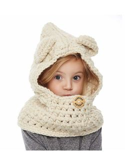 Yanekop Girl's Winter Animal Hats And Scarves Set Warm Scarf Best Gifts
