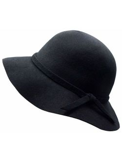 Kids Girl's Vintage Dome 100% Wool Felt Bowler Cap Floppy Hat Bow
