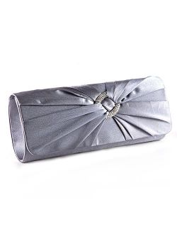 Anladia Satin Diamante Pleated Evening Clutch Bag Bridal Handbag Prom Purse