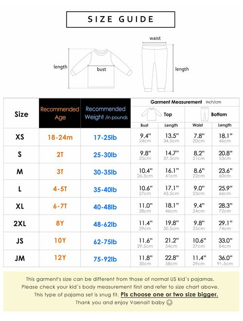 Vaenait Baby Kids Unisex Girls & Boys Soft Comfy Modal Tencel Shirring Sleepwear Pajamas