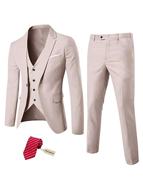 MYS Men's 3 Piece Suit Blazer Slim Fit One Button Notch Lapel Dress Business Wedding Party Jacket Vest Pants & Tie Set