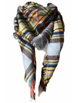 Agio Womens Warm Long Shawl Wraps Large Scarves Knit Cashmere Feel Plaid Triangle Scarf