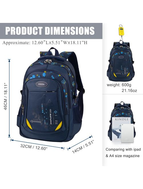 Bageek School Bag for Boys Bookbag Multi-pockets School Backpack Casual Backpack