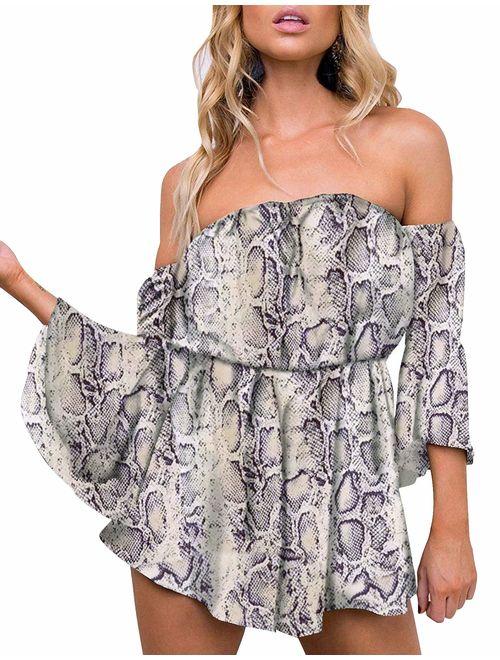 Relipop Women's Summer Floral Off Shoulder 3/4 Flared Sleeve Romper Jumpsuit