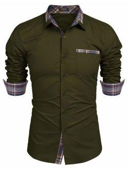 Men's Casual Cotton Long Sleeve Dress Shirt Plaid Collar Slim Fit Button Down Shirt