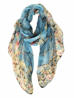 GERINLY Scarfs for Women Lightweight Floral Birds Print Shawl Wraps Holiday Scarf Gift