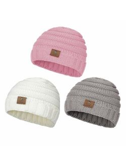 Zando Baby Winter Hats Kids Cable Knit Caps Cozy Warm Cute Infant Toddler Beanies for Boys Girls