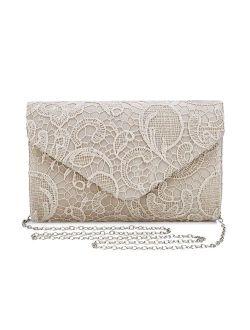UBORSE Women's Elegant Floral Lace Evening Clutch Envelope Prom Handbag Wedding Purse