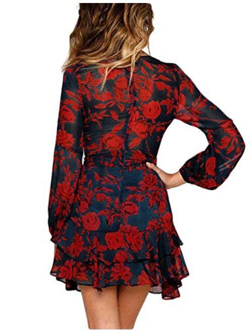 uguest Women V Neck Dress Floral Long Sleeve A-Line Wrap Ruffle Flowy Mini Swing Short Party Dress with Belt