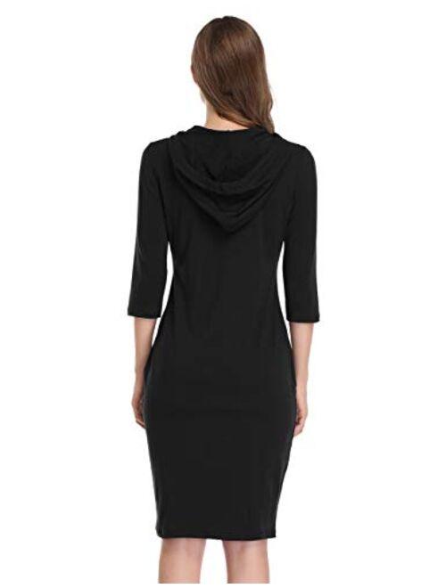 MISSKY Knee Length Slim Casual Pullover Hoodie Dress