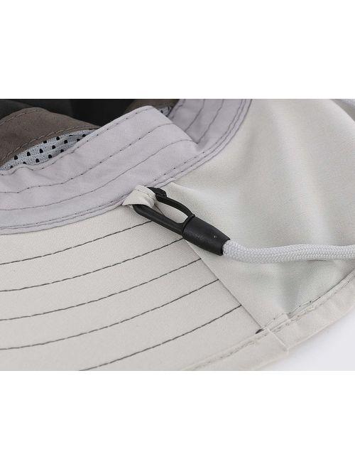 Connectyle Kids Wide Brim Neck Flap Sun Protection Hat Mesh Vent Bucket Sun Hat