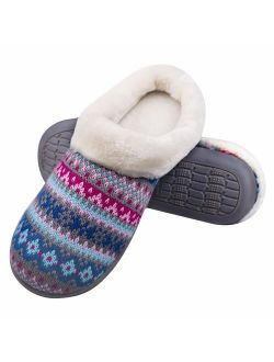 HOSWO Mens & Womens Slippers Comfort Slip On Memory Foam Anti-Slip Sole Indoor & Outdoor Cozy Fuzzy Wool Fleece knitted Winter House Shoes
