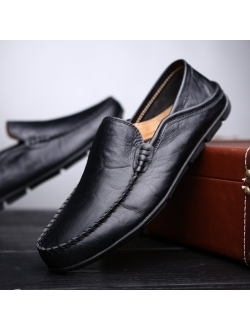 Go Tour Men's Premium Genuine Leather Casual Slip on Loafers Breathable Driving Shoes Fashion Slipper