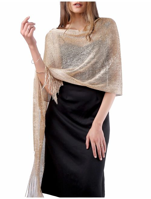 MissShorthair Sparkle Shawls and Wraps for Evening Eresses, Party Scarfs for Women Dress Shawl