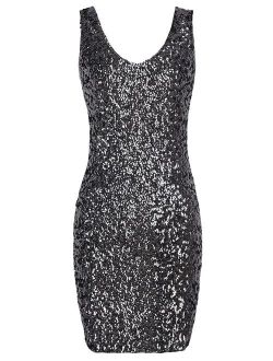 Women's Sexy Deep V Neck Sequin Glitter Bodycon Embellished  Stretchy Mini Party Dress