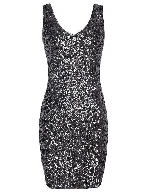 PrettyGuide Women's Sexy Deep V Neck Sequin Glitter Bodycon Embellished  Stretchy Mini Party Dress