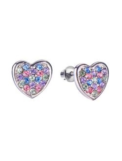 Screw Back Multicolored Heart Stud Hypoallergenic Earrings for Kids, Baby, Toddler, Little Girls with Surgical Steel Post for Ultra Sensitive Ears with Secure Safety Scre