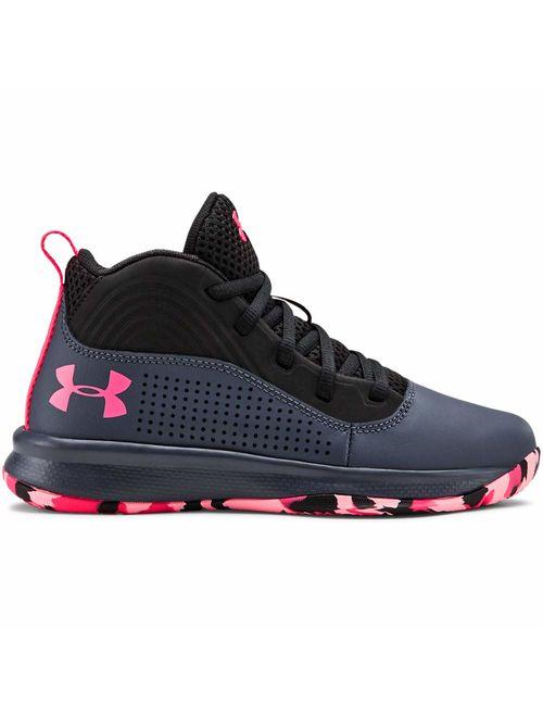 Under Armour Unisex-Kid's Pre School Lockdown 4 Basketball Shoe, Downpour Gray (401)/Black, 3
