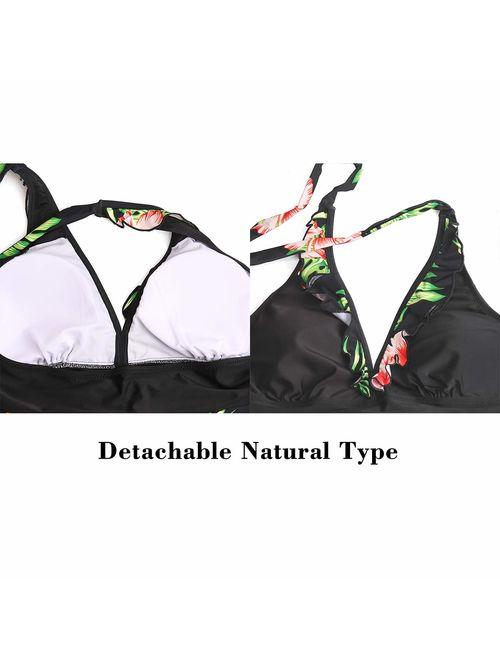JASAMBAC Womens Swimsuits Tankini with Shorts Swimdress Halter 2 Piece Swimwear