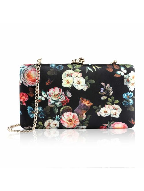 two the nines Women's Flower Print Clutches Evening Bags Handbags Wedding  Hardcase Clutch Purse   Topofstyle