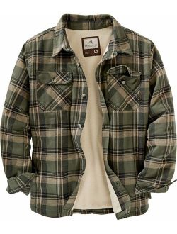 Mens Deer Camp Fleece Lined Flannel Shirt Jacket