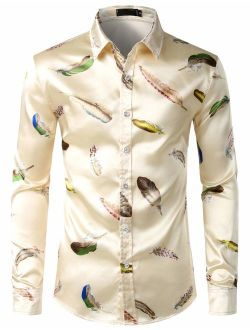 Men's Luxury Printed Silk Like Satin Button Down Dress Shirt For Party Prom