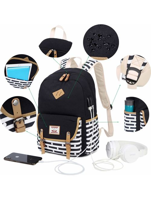 Canvas Students Backpack Casual School Bookbag for Teens Girls Boys