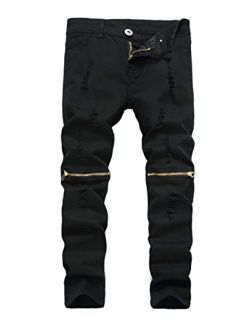 Fredd Marshall Boy's Slim Fit Skinny Ripped Jeans Distressed Zipper Jeans Pants with Holes