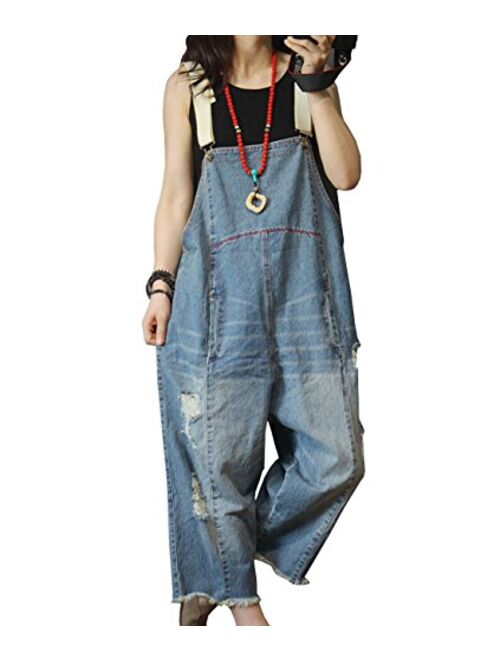 YESNO P60 Women Jeans Cropped Pants Overalls Jumpsuits Hand Painted Poled Distressed Casual Loose Fit