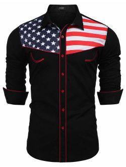 Men's Casual American Flag Button Down Shirts Slim Fit Long Sleeve Shirt