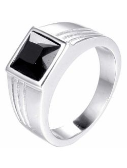 Jude Jewelers Stainless Steel Square Cut Blue Gemstone Black Onxy Wedding Statement Party Ring