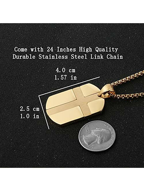 HZMAN Isaiah 41:10 Jewelry, Stainless Steel Cross Dog Tag Pendant Necklace Strength Bible Verse