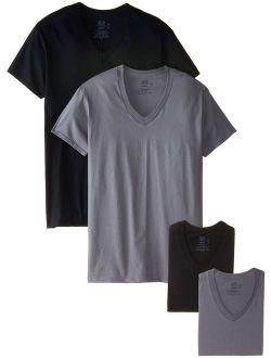 Men's Cotton Solid V-neck T-shirt Multipack