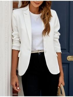 LookbookStore Womens Notched Lapel Pocket Button Work Office Blazer Jacket Suit