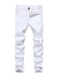 OBT Boy's Slim Stretch Skinny Fit Ripped Destroyed Distressed Fashion Denim Jeans Holes