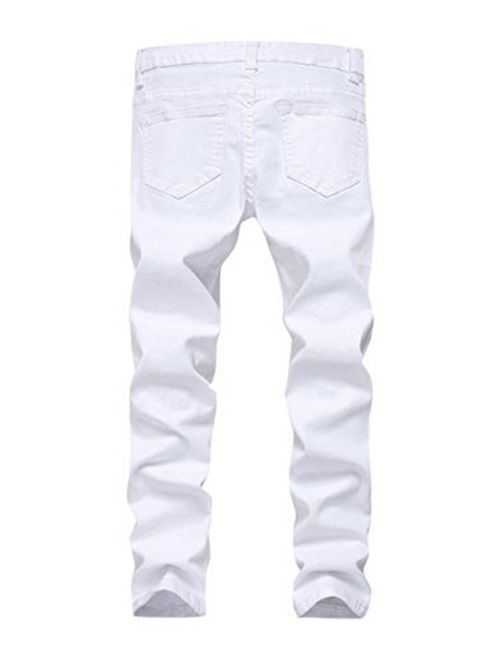 OBT Boy's Slim Stretch Skinny Fit Ripped Destroyed Distressed Fashion Denim Jeans Holes