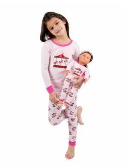 Kids & Toddler Pajamas Matching Doll & Girls Pajamas 100% Cotton 2 Piece Pjs Set (size 2 Toddler-14 Years)