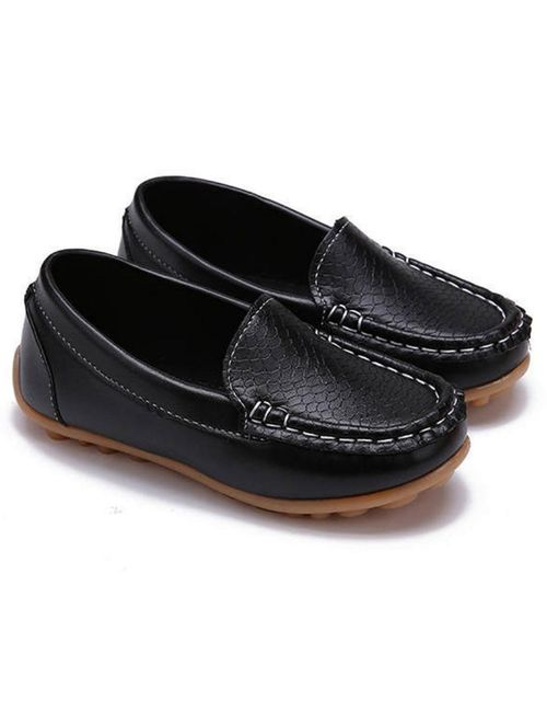 RVROVIC Kids Girls Boys Slip-on Loafers Oxford PU Leather Flats Shoes(Toddler/Little Kid)