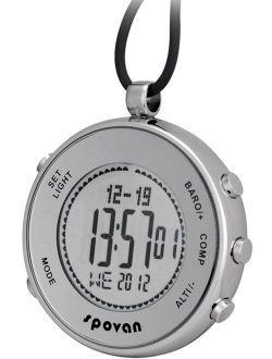 Spovan Silver Digital Pocket Watches Hiking Altimeter Barometer Compass