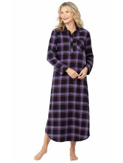 PajamaGram Women's Flannel Nightgown Plaid - Cotton Flannel Nightgown Womens