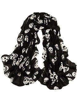NYKKOLA Women's Plus Skull Scarf, Black, One Size