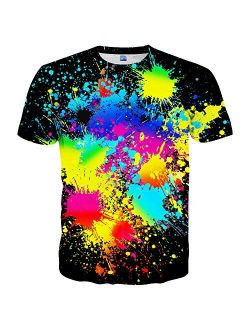 Hgvoetty Unisex Stylish 3D Printed Graphic Short Sleeve T-Shirts for Women Men