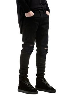 IA ROD CA Boy's Black Stretch Destroyed Ripped Jeans Distressed Fashion Skinny Slim Fit Jeans
