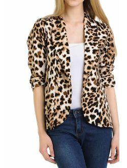 MINEFREE Women's 3/4 Ruched Sleeve Lightweight Work Office Blazer Jacket (S-3XL)